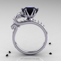 Art Masters 14K White Gold 3.0 Ct Black Diamond Dragon Engagement Ring R801-14KWGBD