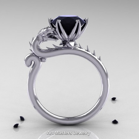 Art-Masters-Jewelry-14K-White-Gold-3-Carat-Black-Diamond-Dragon-Engagement-Ring-R801-14KWGBD-F