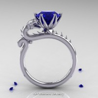 Art Masters 14K White Gold 3.0 Ct Blue Sapphire Dragon Engagement Ring R801-14KWGBS