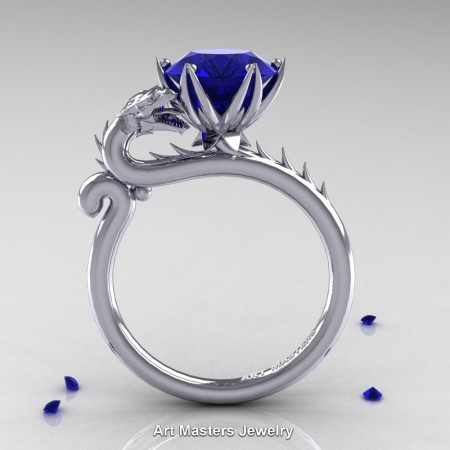 Art-Masters-Jewelry-14K-White-Gold-3-Carat-Blue-Sapphire-Dragon-Engagement-Ring-R801-14KWGBS-F