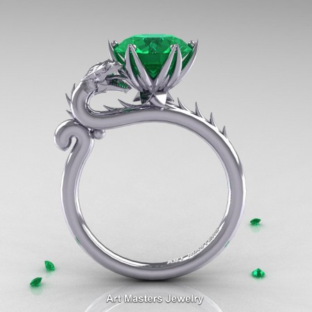 Art-Masters-Jewelry-14K-White-Gold-3-Carat-Emerald-Dragon-Engagement-Ring-R801-14KWGEM-F