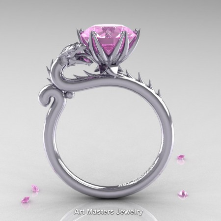 Art-Masters-Jewelry-14K-White-Gold-3-Carat-Light-Pink-Sapphire-Dragon-Engagement-Ring-R801-14KWGLPS-F