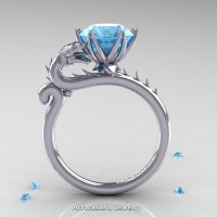 Art Masters 14K White Gold 3.0 Ct Paradise Blue Topaz Dragon Engagement Ring R801-14KWGT