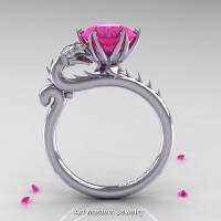 Art Masters 14K White Gold 3.0 Ct Pink Sapphire Dragon Engagement Ring R801-14KWGPS