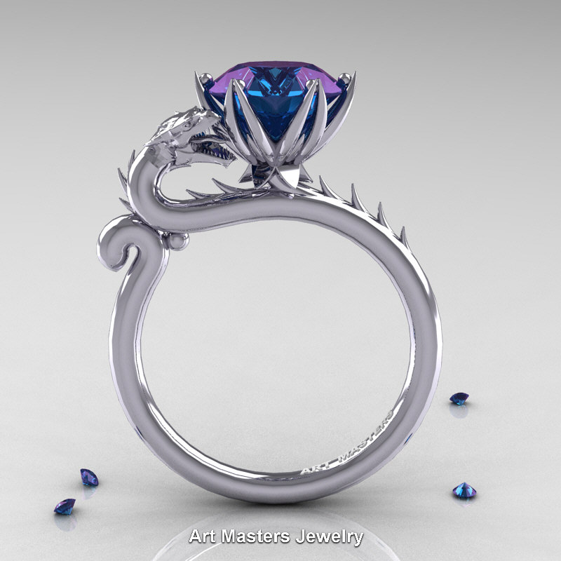 Art Masters 14K White Gold 30 Ct Russian Alexandrite Dragon