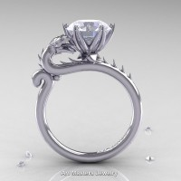Art Masters 14K White Gold 3.0 Ct White Sapphire Dragon Engagement Ring R801-14KWGWS