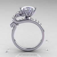 Art Masters 14K White Gold 3.0 Ct White Sapphire Dragon Engagement Ring R801-14KWGWS