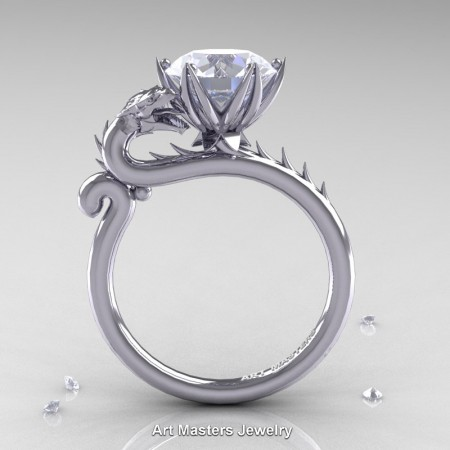 Art-Masters-Jewelry-14K-White-Gold-3-Carat-White-Sapphire-Dragon-Engagement-Ring-R801-14KWGWS-F