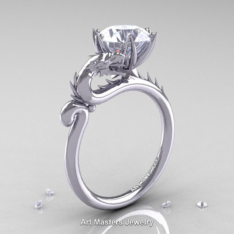 Art Masters 14K White Gold 30 Ct White Sapphire Dragon Engagement