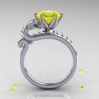 Art Masters 14K White Gold 3.0 Ct Yellow Sapphire Dragon Engagement Ring R801-14KWGYS