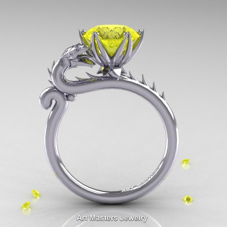 Art-Masters-Jewelry-14K-White-Gold-3-Carat-Yellow-Sapphire-Dragon-Engagement-Ring-R801-14KWGYS-F