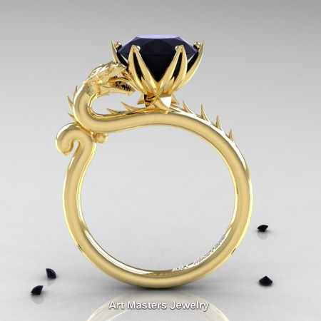 Art-Masters-Jewelry-14K-Yellow-Gold-3-Carat-Black-Diamond-Dragon-Engagement-Ring-R801-14KYGBD-F