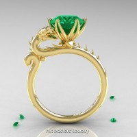 Art Masters 14K Yellow Gold 3.0 Ct Emerald Dragon Engagement Ring R801-14KYGEM