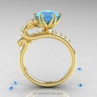 Art Masters 14K Yellow Gold 3.0 Ct Paradise Blue Topaz Dragon Engagement Ring R801-14KYGT