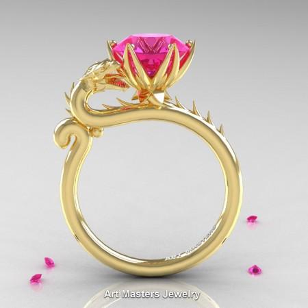 Art-Masters-Jewelry-14K-Yellow-Gold-3-Carat-Pink-Sapphire-Dragon-Engagement-Ring-R801-14KYGPS-F