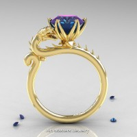 Art Masters 14K Yellow Gold 3.0 Ct Russian Alexandrite Dragon Engagement Ring R801-14KYGAL
