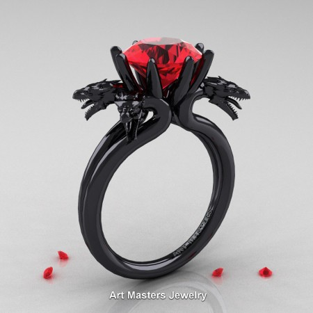 Art-Masters-Scandinavian-14K-Black-Gold-3-Carat-Ruby-Dragon-Engagement-Ring-R901-14KBGR-P