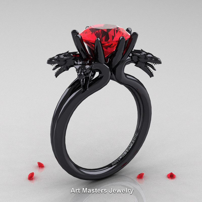 Norwegian 14K Black Gold 3 0 Carat Ruby Dragon Engagement Ring R901 14KBGR