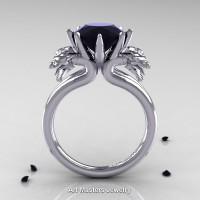 Norwegian 14K White Gold 3.0 Carat Black Diamond Dragon Engagement Ring R901-14KWGBD