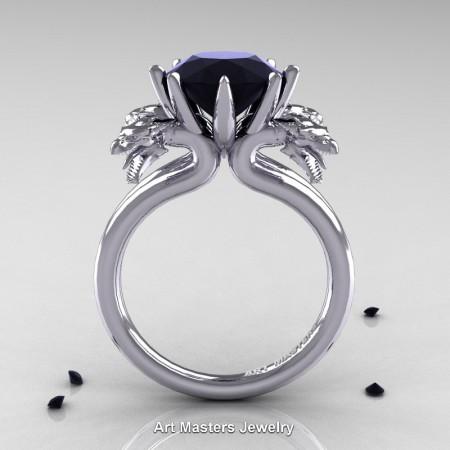 Art-Masters-Scandinavian-14K-White-Gold-3-Carat-Black-Diamond-Dragon-Engagement-Ring-R901-14KWGBD-F