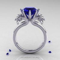 Norwegian 14K White Gold 3.0 Carat Blue Sapphire Dragon Engagement Ring R901-14KWGBS