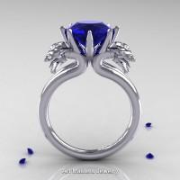 Norwegian 14K White Gold 3.0 Carat Blue Sapphire Dragon Engagement Ring R901-14KWGBS