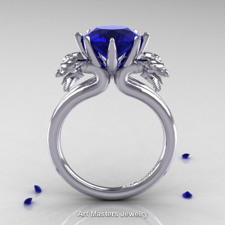 Art-Masters-Scandinavian-14K-White-Gold-3-Carat-Blue-Sapphire-Dragon-Engagement-Ring-R901-14KWGBS-F