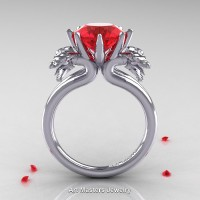 Norwegian 14K White Gold 3.0 Carat Ruby Dragon Engagement Ring R901-14KWGR