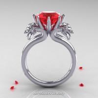 Norwegian 14K White Gold 3.0 Carat Ruby Dragon Engagement Ring R901-14KWGR
