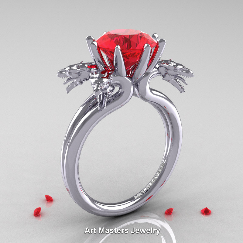 Norwegian 14K White Gold 30 Carat Ruby Dragon Engagement Ring R901
