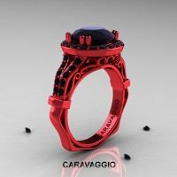 Caravaggio 14K Red Gold 3.0 Ct Black Diamond Engagement Ring Wedding Ring R620-14KREGBD