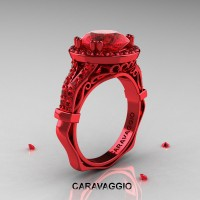Caravaggio 14K Red Gold 3.0 Ct Ruby Engagement Ring Wedding Ring R620-14KREGR