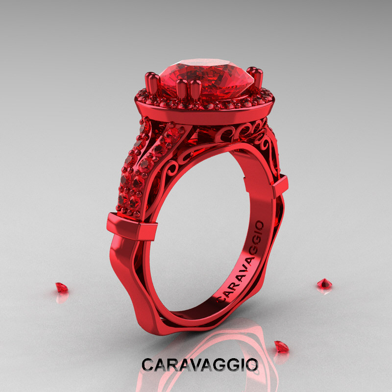 caravaggio 14k red gold 3 carat ruby engagement - Ruby Wedding Ring