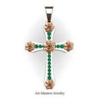 Classic Bridal 14K Rose Gold Emerelad Rose Cross Pendant Wedding Jewelry C486S-14KRGEM