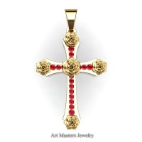 Classic Bridal 14K Yellow Gold Ruby Rose Cross Pendant Wedding Jewelry C486S-14KYGR