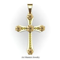 Classic Bridal 14K Yellow Gold Yellow Sapphire Rose Cross Pendant Wedding Jewelry C486S-14KYGYS