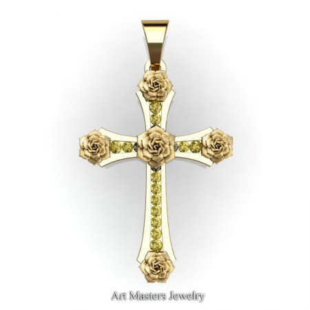Classic-Bridal-14K-Yellow-Gold-Yellow-Sapphire-Rose-Cross-Pendant-Wedding-Jewelry-C486S-14KYGYS-T