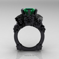 Love and Sorrow 14K Black Gold 3.0 Ct Emerald Skull and Rose Solitaire Engagement Ring R713-14KBGEM