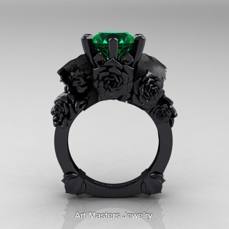 Love-and-Sorrow-14K-Black-Gold-3-0-Ct-Emerald-Skull-and-Rose-Solitaire-Engagement-Ring-R713-14KBGEM-F
