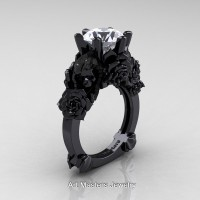 Love and Sorrow 14K Black Gold 3.0 Ct White Sapphire Skull and Rose Solitaire Engagement Ring R713-14KBGWS