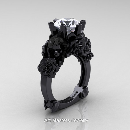 Love-and-Sorrow-14K-Black-Gold-3-0-Ct-White-Sapphire-Skull-and-Rose-Solitaire-Engagement-Ring-R713-14KBGWS-P