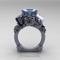 Love and Sorrow 14K Grey Gold 3.0 Ct Blue Topaz Skull and Rose Solitaire Engagement Ring R713-14KGRGBT