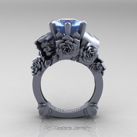 Love-and-Sorrow-14K-Grey-Gold-3-0-Ct-Blue-Topaz-Skull-and-Rose-Solitaire-Engagement-Ring-R713-14KGRGBT-F