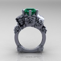 Love and Sorrow 14K Grey Gold 3.0 Ct Emerald Skull and Rose Solitaire Engagement Ring R713-14KGRGEM