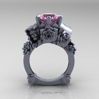 Love and Sorrow 14K Grey Gold 3.0 Ct Light Pink Sapphire Skull and Rose Solitaire Engagement Ring R713-14KGRGLPS