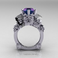 Love and Sorrow 14K White Gold 3.0 Ct Laser Alexandrite Skull and Rose Solitaire Engagement Ring R713-14KWGAL