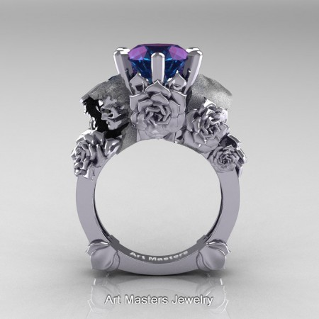 Love-and-Sorrow-14K-White-Gold-3-0-Ct-Alexandrite-Skull-and-Rose-Solitaire-Engagement-Ring-R713-14KWGAL-F