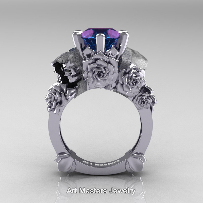 Famous Love and Sorrow 14K White Gold 3.0 Ct Laser Alexandrite Skull and  BE13