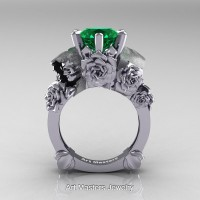 Love and Sorrow 14K White Gold 3.0 Ct Emerald Skull and Rose Solitaire Engagement Ring R713-14KWGEM