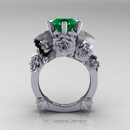 Love-and-Sorrow-14K-White-Gold-3-0-Ct-Emerald-Skull-and-Rose-Solitaire-Engagement-Ring-R713-14KWGEM-F